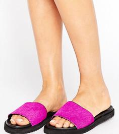 Кожаные шлепанцы для широкой стопы New Look - Розовый