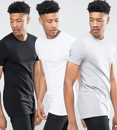 3 длинных облегающих футболки с круглым вырезом ASOS TALL - СКИДКА - Мульти