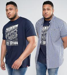 Комплект с синей футболкой и рубашкой Duke PLUS - Синий