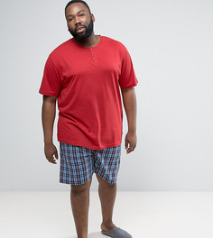 Темно-красная пижама с клетчатыми шортами Duke PLUS - Красный