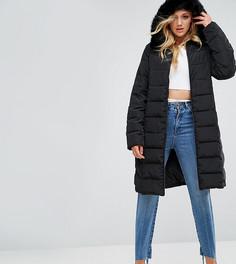 Длинная дутая куртка с отделкой из искусственного меха на капюшоне ASOS TALL - Черный