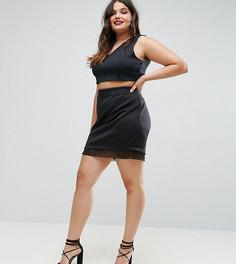 Мини-юбка с отделкой из органзы ASOS CURVE - Черный