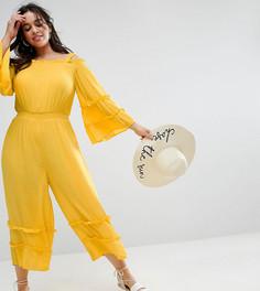 Комбинезон из жатой ткани с открытыми плечами и оборками ASOS CURVE - Желтый