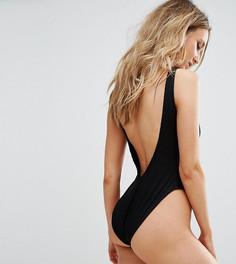 Слитный купальник в рубчик с открытой спиной Missguided - Черный