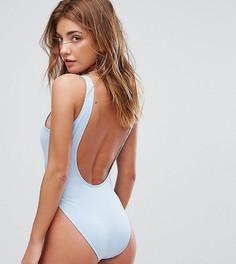 Слитный купальник в рубчик с открытой спиной Missguided - Синий