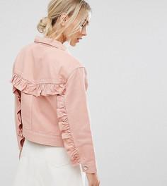 Выбеленная розовая джинсовая куртка с рюшами на спине ASOS PETITE - Синий