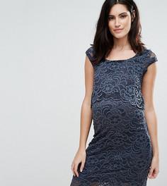 Двухслойное кружевное платье Mamalicious Nursing - Темно-синий Mama.Licious