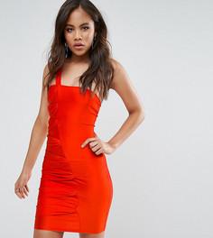 Присборенное платье мини на одно плечо NaaNaa Tall - Оранжевый