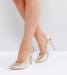 Туфли-лодочки на каблуке для широкой стопы с эффектом металлик New Look - Золотой