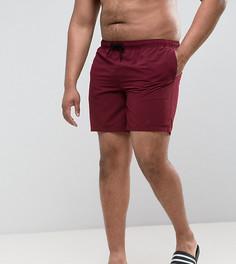 Бордовые шорты для плавания средней длины ASOS PLUS - Красный
