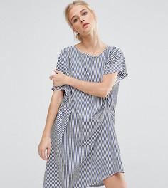 Драпированное цельнокройное платье в полоску ZACRO - Синий