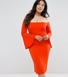 Платье с широким вырезом и рукавами клеш Club L Plus - Красный