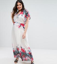Платье макси с рукавами-кимоно и цветочным принтом Boohoo Plus - Кремовый