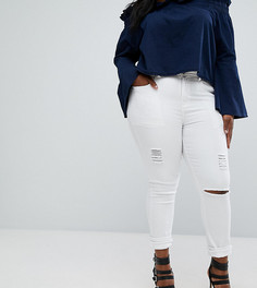 Рваные джинсы скинни Boohoo Plus - Белый