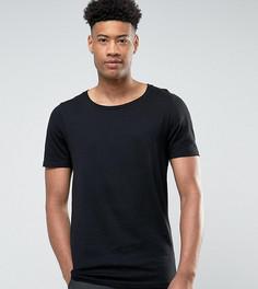Черная длинная футболка с овальным вырезом ASOS TALL - Черный