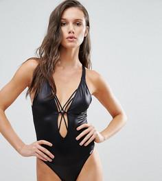 Слитный купальник с решетчатой спинкой Free Society - Черный