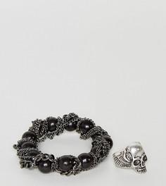Набор из браслета и кольца с черепом ASOS - Мульти