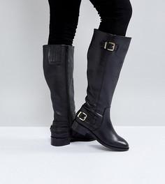 Кожаные сапоги для широкой стопы ASOS CLUED UP - Черный