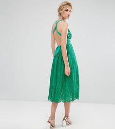 Пышное кружевное платье миди для выпускного с открытой спиной ASOS TALL SALON - Мульти