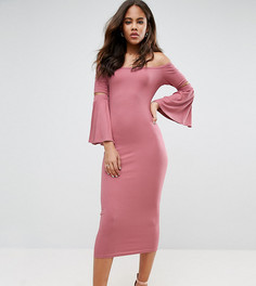 Облегающее платье миди в рубчик с рукавами клеш ASOS TALL - Розовый