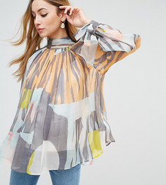 Блузка с высоким воротом и абстрактным принтом ASOS Maternity - Мульти