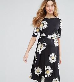Платье миди с цветочным принтом ASOS Maternity PETITE - Мульти