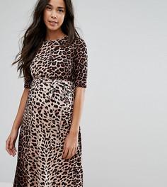 Платье миди с леопардовым принтом ASOS Maternity PETITE - Мульти
