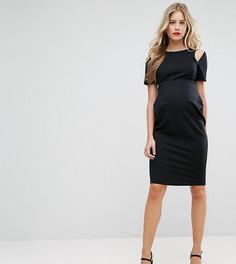 Платье-футляр миди с вырезами на плечах ASOS Maternity TALL - Черный