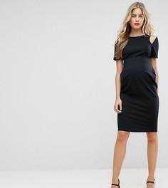Платье-футляр миди с вырезами на плечах ASOS Maternity - Черный