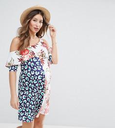 Платье с принтом и вырезами на плечах ASOS Maternity - Мульти