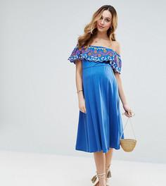 Сарафан с вышивкой и открытыми плечами ASOS Maternity - Синий