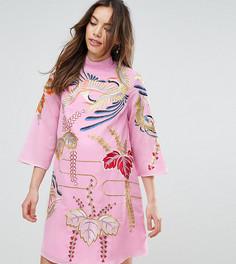 Свободное платье-туника мини с вышивкой ASOS Maternity - Розовый