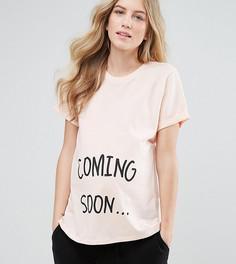 Футболка с надписью Coming Soon ASOS Maternity - Розовый