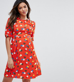 Чайное платье с вырезом на плечах и принтом в стиле 40-х ASOS Maternity PETITE - Мульти