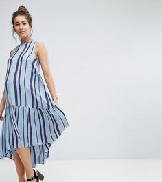 Свободное платье-трапеция миди из ткани добби в полоску ASOS Maternity - Синий