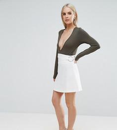 Корсетная мини-юбка с кольцами ASOS PETITE - Белый
