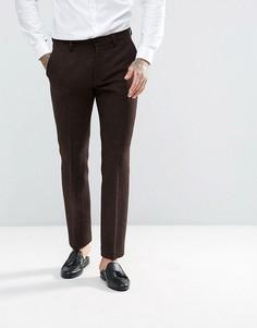 Коричневые брюки узкого кроя из 100% шерстяного харрис-твида с узором в елочку ASOS - Коричневый