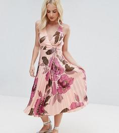 Платье миди с запахом, складками и цветочным принтом ASOS PETITE - Розовый