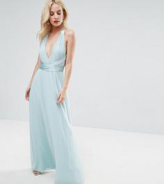 Платье макси с глубоким вырезом и атласным поясом ASOS PETITE - Мульти