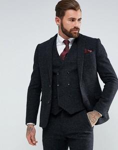 Темно-серый зауженный пиджак из 100% шерстяного харрис-твида ASOS - Серый
