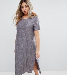 Трикотажное платье с короткими рукавами и разрезами по бокам Junarose - Синий