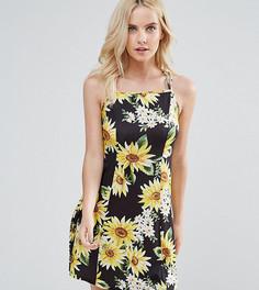 Легкое платье-трапеция с подсолнухами ASOS PETITE - Мульти