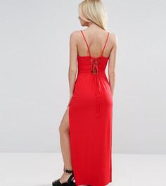 Платье макси со шнуровкой на спине ASOS PETITE - Красный