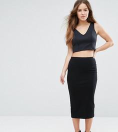 Трикотажная юбка-карандаш миди ASOS PETITE - Черный