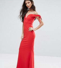 Платье макси с глубоким вырезом и расклешенным подолом Missguided Petite - Красный