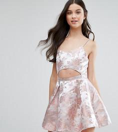 Платье мини с принтом в стиле барокко и вырезами Missguided Petite - Розовый