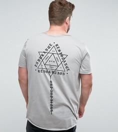 Длинная футболка с принтом и необработанным асимметричным краем ASOS PLUS - Серый