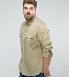 Светло-зеленая эластичная рубашка узкого кроя с двумя карманами ASOS PLUS - Зеленый