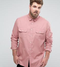 Узкая розовая рубашка с двумя карманами ASOS PLUS - Розовый