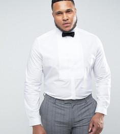 Зауженная рубашка с плиссированной вставкой ASOS PLUS WEDDING - Белый